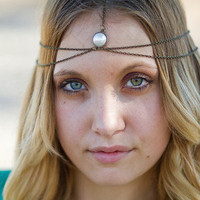 Dark Gold/Brass Head Chain with Pearl Center, Headdress, Hair Chain, Hair Jewelry, Chain Headband