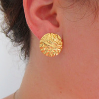 Gold stud round earrings, Stud earrings, Gold circle earrings,gold post earrings,