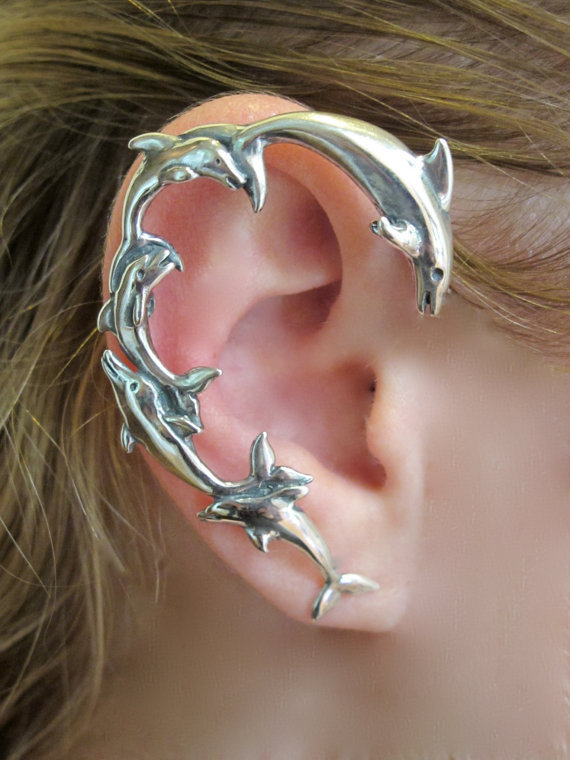 Silver Dolphin Ear Wrap