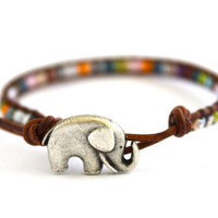 Good Luck Rainbow Beaded Leather Wrap Bracelet. Lucky Elephant Button. BoHo Chic