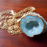 Bold Blue Druzy Geode Necklace