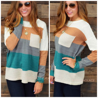 Stripe A Pose Teal Sweater