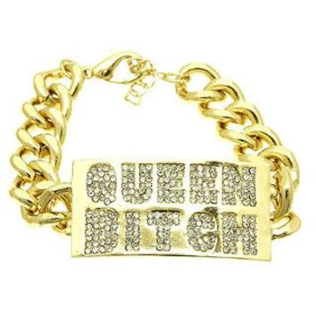 Rhinestone Queen Bitch Chunky Bracelet