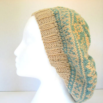 Oversized Slouchy Beanie - Teal and Tan Winter Hat, Large Knit Beret