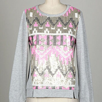 Glittering Aztec Sequins Sweater