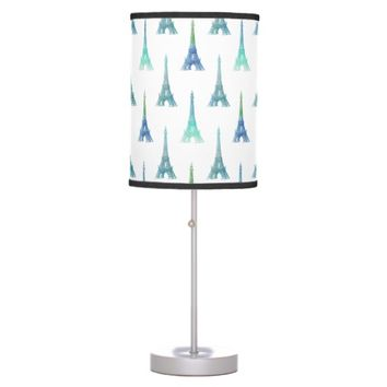 Paris Eiffel Tower Blue Green Table Lamp