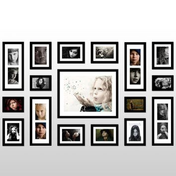 Wall Hanging Art Home Decor Modern Gallery 17-piece Wood Multi-piece Photo Frame Set . Black X547S