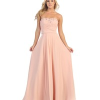 Blush Pink Strapless Pleated Chiffon Long Dress Homecoming 2014 | Unique Prom