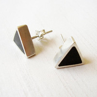 Triangle Black Stud Earrings in Sterling Silver and Pigments - Ear Studs Black Colour - Black and Silver - Hipster Contemporary Jewelry