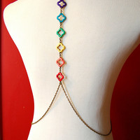 Rainbow Chakra Body Chain - Brass Tone Festival / Belly Dance Body Chain w/ Clover Detail