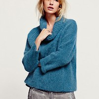 Free People Womens Warm Turtle Neck - Teal Heather,