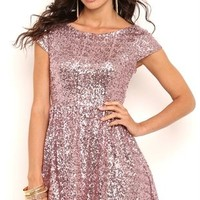 Sequin Short Homecoming Skater Dress with Cap Sleeves