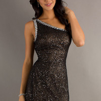 Short One Shoulder Sequin Dress by Scala 47520