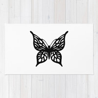 Butterfly Black on White Area & Throw Rug by Project M   Society6