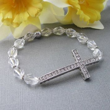 Rhinestone Sideways Cross Stretch Bracelet Beaded Crystals Silver