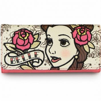 """Belle Tattoo Princess"" Fashion Wallet by Loungefly (Biege/Pink)"