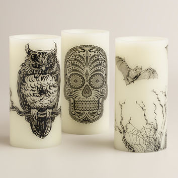 Halloween LED Pillar Candles, Set of 3 - World Market