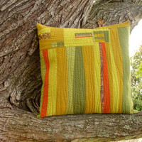 Modern Quilted Pillow Cover Green Gold Orange Fiber Art 18x18