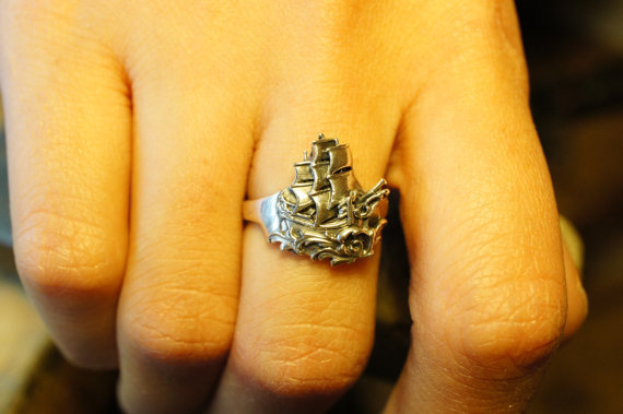 Small Sterling Silver Florentine Ship Ring