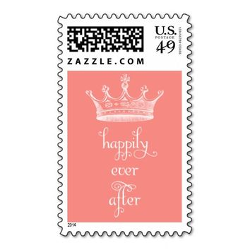 Happily Ever After Crown Coral Wedding Stamp