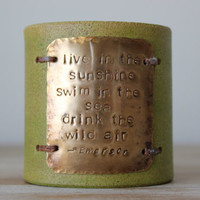 Wide Leather Quote Cuff (Ralph Waldo Emerson) Green, Brass, Unisex