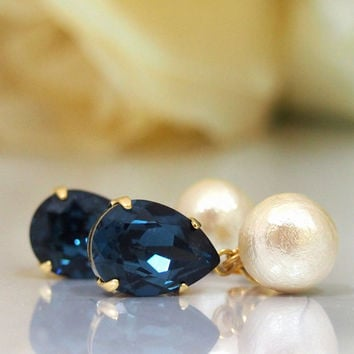 The stillness in the night: Cotton Pearl Earrings with Navy blue Swarovski crystals, Surgical stainless steel post,  bridal earrings