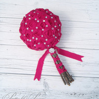 Fuchsia fabric rosette wedding bouquet