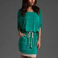 MIKE GONZALEZ Ana Drop Sleeve Belted Mini Dress in Turquoise at Revolve Clothing - Free Shipping!