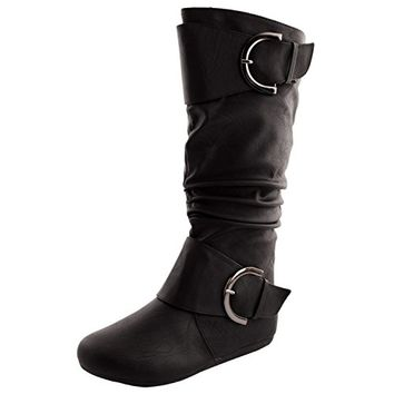Bank 85 Womens Buckle Slouch Boots Black