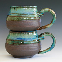 Pair of Coffee Mugs, handmade ceramic cups, ceramic stoneware mugs