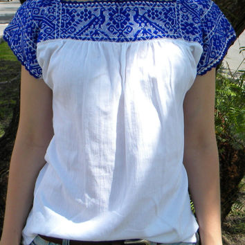 Blue Handmade Embroidered Blouse