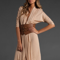 HAUTE HIPPIE Chiffon Matte Jersey Belted Column Gown in Nude at Revolve Clothing - Free Shipping!
