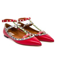 VALENTINO | Rockstud Matte Leather Flats | Browns fashion & designer clothes & clothing