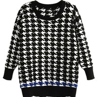 Houndstooth Pattern 3/4 Sleeve Knit Sweater - Choies.com