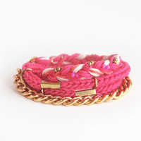 Pink wrap bracelet with chain, neon pink bracelet, chunky chain bracelet, braid bracelet