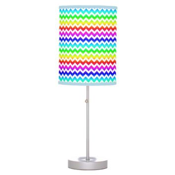 Rainbow Colorful White Chevron Lamp