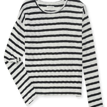 Aeropostale Long Sleeve Striped Boxy Crop Sweater -