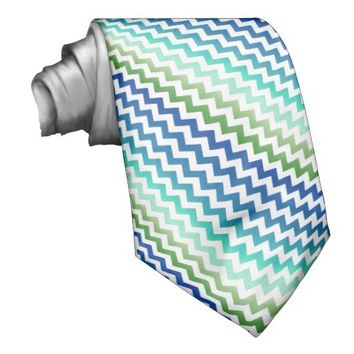 Chevron White Blue Green Seascape Tie