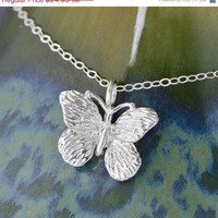 Labor Day Sale Butterfly Pendant - Butterfly Necklace - Sterling Butterfly - Butterfly Jewelry - Silver Necklace - Sterling Necklace - Butte