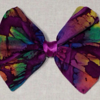 Psychedelic Purple Tie Dye Fabric Hair Bow