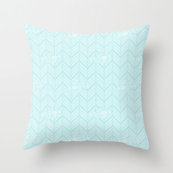 Turquoise Aqua Chevron Floral Throw Pillow by BeautifulHomes
