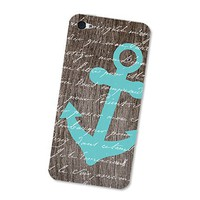 Turquoise Blue Nautical Anchor iPhone 4S Skin: iPhone 4 Skin Decal - Cell Phone Brown Wood iPhone Skin