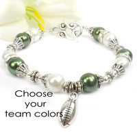 Football Bracelet: Football Mom Bracelet, Team Color Jewelry, Team Spirit