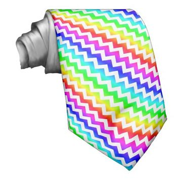 Rainbow Colorful White Chevron Tie