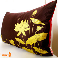 Lotus Pond Pillow with Crimson Red Velvet Backing