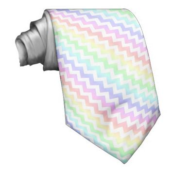 Rainbow Pastel White Chevron Tie