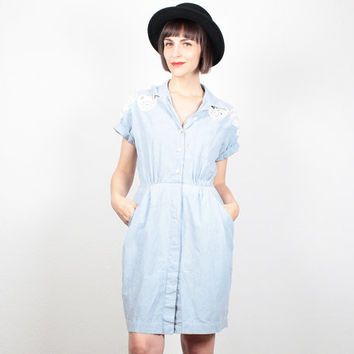 Vintage Light Blue Dress Mini Dress Chambray Blue Shirt Dress Lace Cut Out Embroidered 80s Dress Uniform Shirtdress Preppy 1980s M Medium