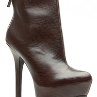Brown Faux Leather Platform Ankle Booties