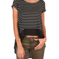 Sheer Back Striped High Low Top - Black /