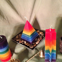 Seven Layer Shaped Chakra Candle w/Balancing Stone Paraffin Wax, meditation, healing, rainbow by Brigid's Flame Candles